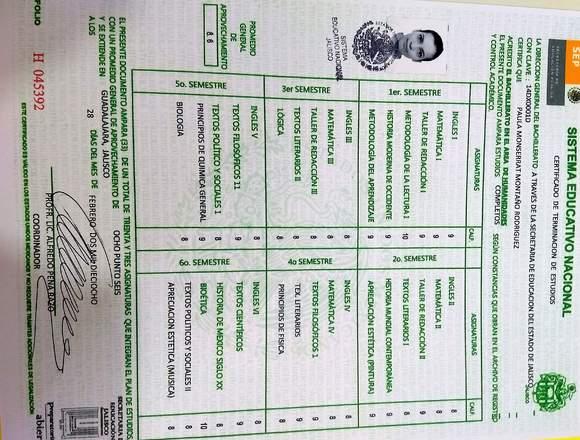 Certificado de preparatoria para estudiar