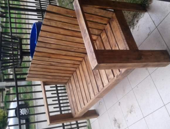 Juego de living de terraza, artesanal