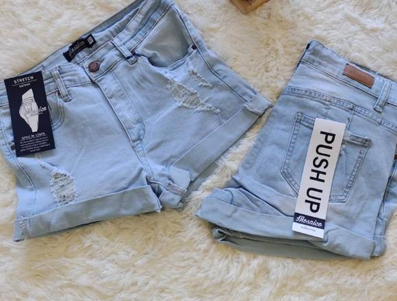 Shors de jeans push up elasticados