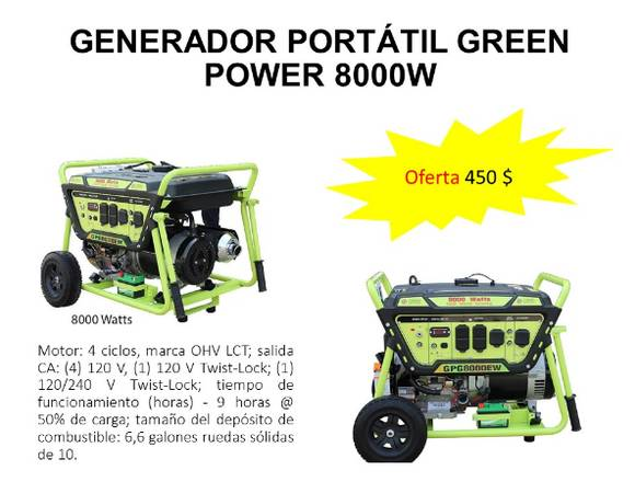 GENERADOR PLANTA PORTÁTIL GREEN POWER 8000W