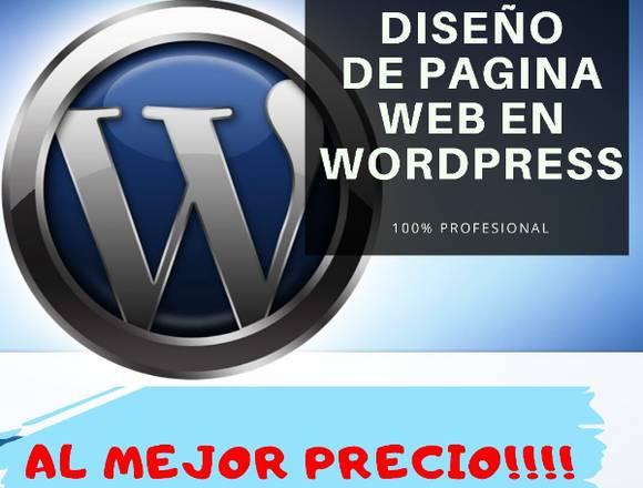 Diseño de página web en wordpress al  mejor precio