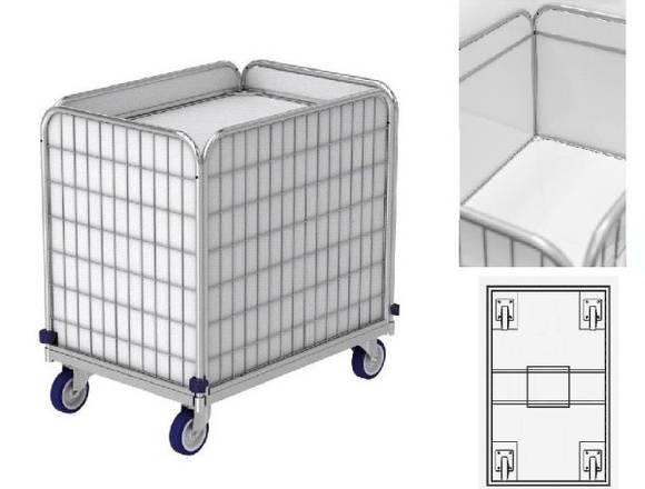 Wäschewagen mit Federboden-für Wäschelogistik.