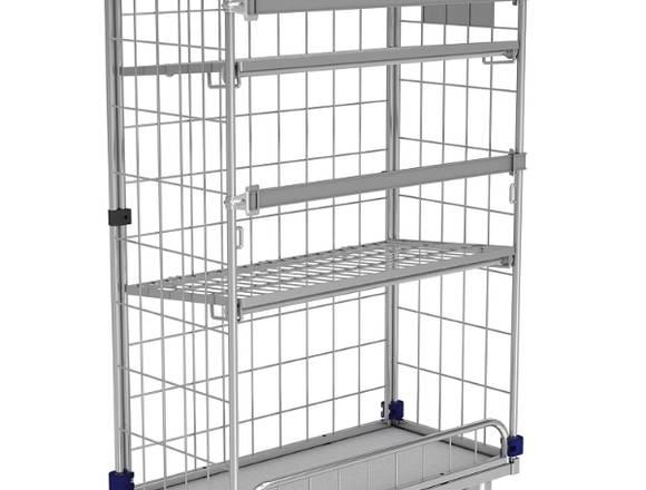 Gitter- Rollcontainer KM für Krankenhäusern.