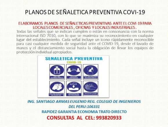 SE ELABORAN PLANOS DE SEÑALETICA COVI-19