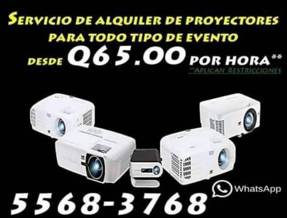 alquiler de proyectores cañoneras, pantallas audio