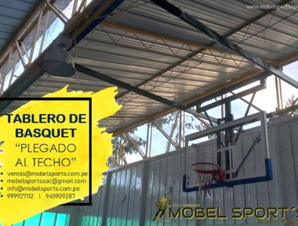 TABLERO DE BASQUET-PLEGADO AL TECHO-MOBEL SPORT´S