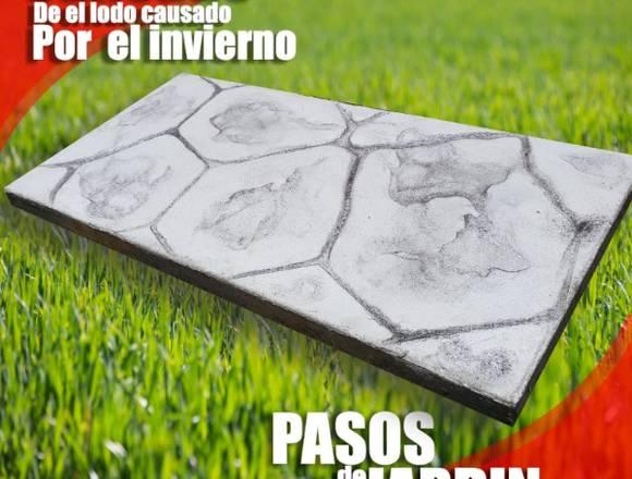 pasos de jardín de concreto rectangulares