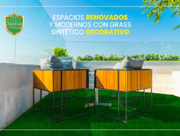 GRASS SINTÉTICO DECORATIVO DE ALTO TRÁNSITO