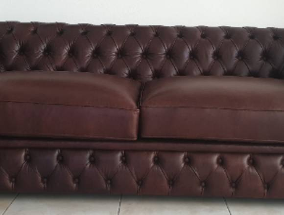 Sofa chesterfield pele natural NOVO