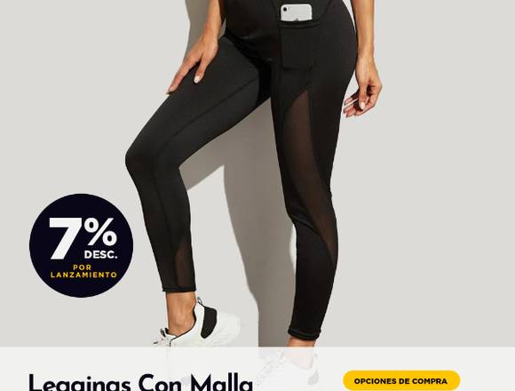 Leggings Deportivos Con Malla