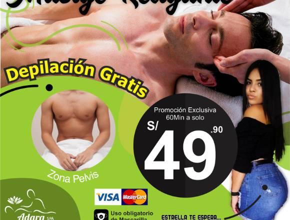 60 MIN DE MASAJE RELAJANTE + DEPILACIÓN GRATIS