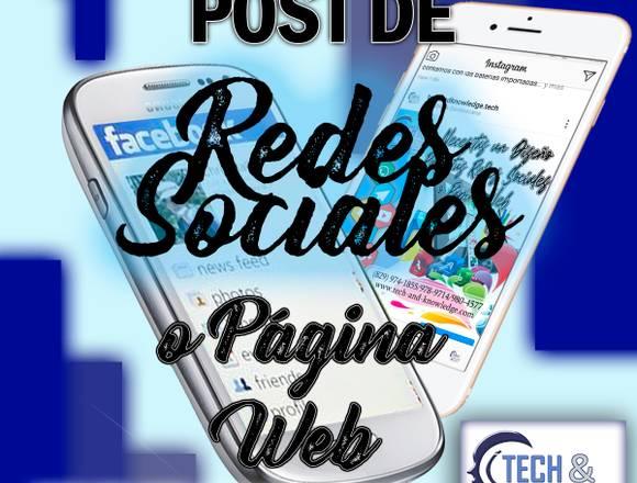Diseños para post de Redes Sociales