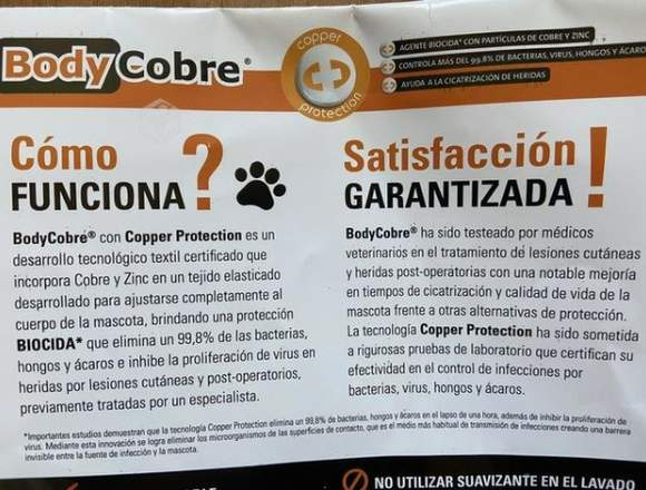 Body de cobre post quirúrgico para perros TALLA 7