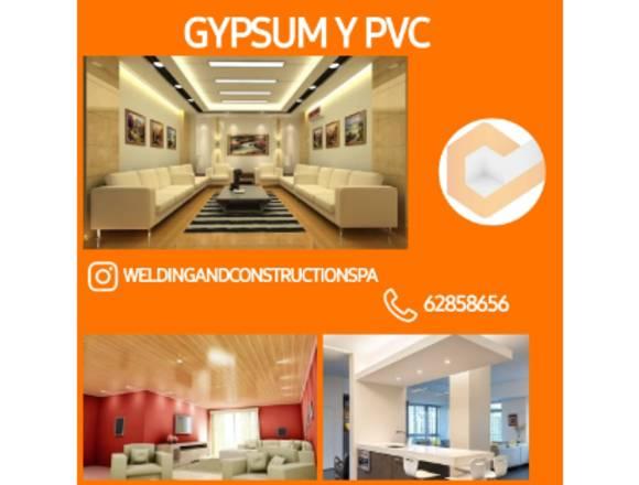 Construccion de cielo raso en gypsum y pvc