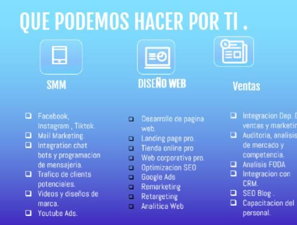 Necesitas Pagina web y Redes Sociales? Escríbenos