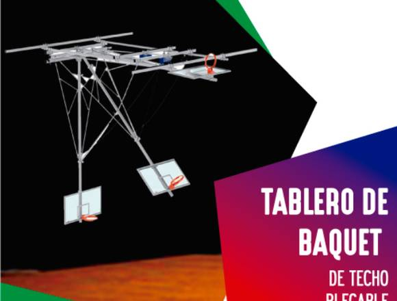 TABLERO DE BASQUET PLEGABLE DE TECHO