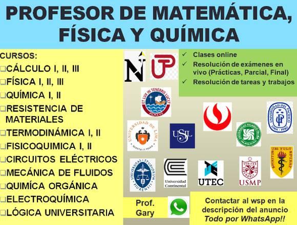 Profesor de Matemáticas, Física y Química, UNI