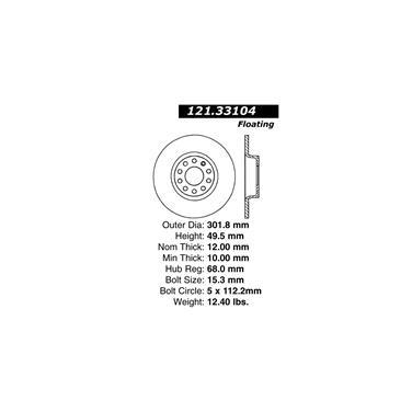 2011 Audi A6 Quattro Disc Brake Rotor CENTRIC PARTS 121.33104