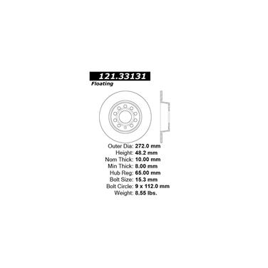 2011 Volkswagen Jetta Disc Brake Rotor CENTRIC PARTS 121.33131