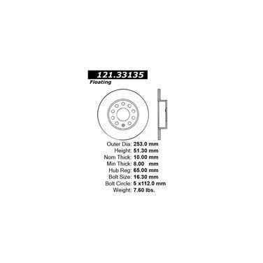 2011 Volkswagen Jetta Disc Brake Rotor CENTRIC PARTS 121.33135