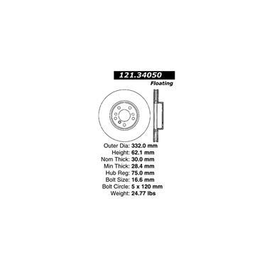 2002 BMW X5 Disc Brake Rotor CENTRIC PARTS 121.34050