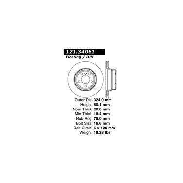2002 BMW X5 Disc Brake Rotor CENTRIC PARTS 121.34061
