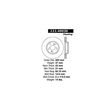 2007 Honda Accord Disc Brake Rotor CENTRIC PARTS 121.40036