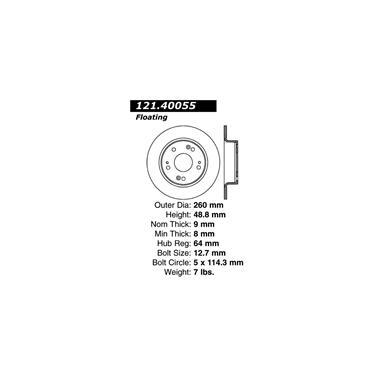 2007 Honda Accord Disc Brake Rotor CENTRIC PARTS 121.40055