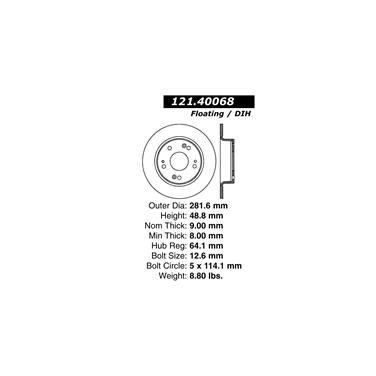 2007 Honda Accord Disc Brake Rotor CENTRIC PARTS 121.40068