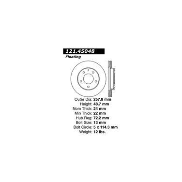 1997 Mazda 626 Disc Brake Rotor CENTRIC PARTS 121.45048