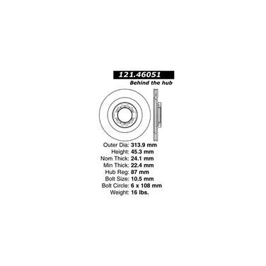 2002 Mitsubishi Montero Sport Disc Brake Rotor CENTRIC PARTS 121.46051