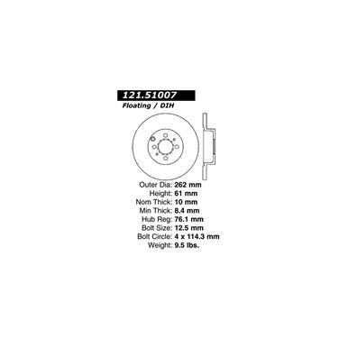2002 Hyundai Sonata Disc Brake Rotor CENTRIC PARTS 121.51007