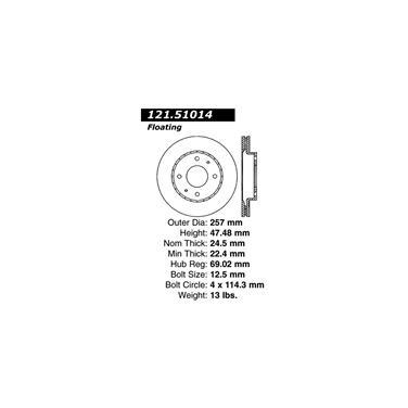 2002 Hyundai Sonata Disc Brake Rotor CENTRIC PARTS 121.51014