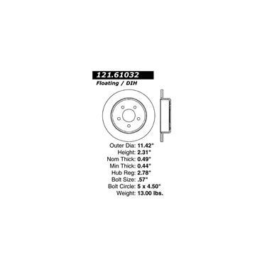 1992 Mercury Grand Marquis Disc Brake Rotor CENTRIC PARTS 121.61032