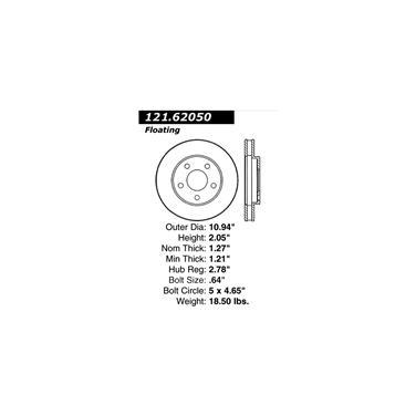 1992 Buick LeSabre Disc Brake Rotor CENTRIC PARTS 121.62050