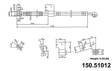 2004 Hyundai Tiburon Brake Hydraulic Hose CENTRIC PARTS 150.51012