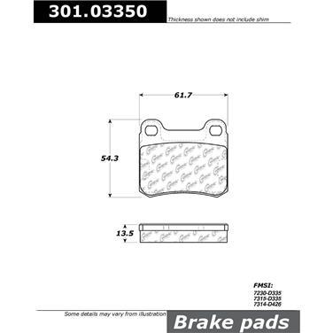1995 Mercedes-Benz C220 Disc Brake Pad CENTRIC PARTS 301.03350