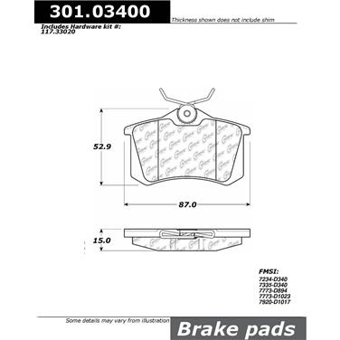 2010 Volkswagen Beetle Disc Brake Pad CENTRIC PARTS 301.03400