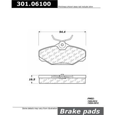 1995 Lincoln Continental Disc Brake Pad CENTRIC PARTS 301.06100