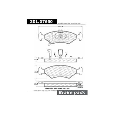 1995 Kia Sephia Disc Brake Pad CENTRIC PARTS 301.07660