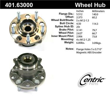 2007 Dodge Caliber Axle Bearing and Hub Assembly CENTRIC PARTS 401.63000E