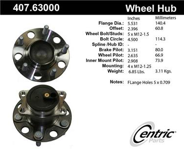 2007 Dodge Caliber Axle Bearing and Hub Assembly CENTRIC PARTS 407.63000E