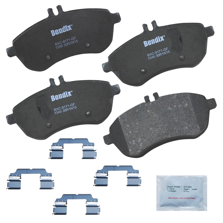 REAR SET Posi Quiet Ceramic Brake Disc Pads LOW DUST 105.13410 + Hardware Kit