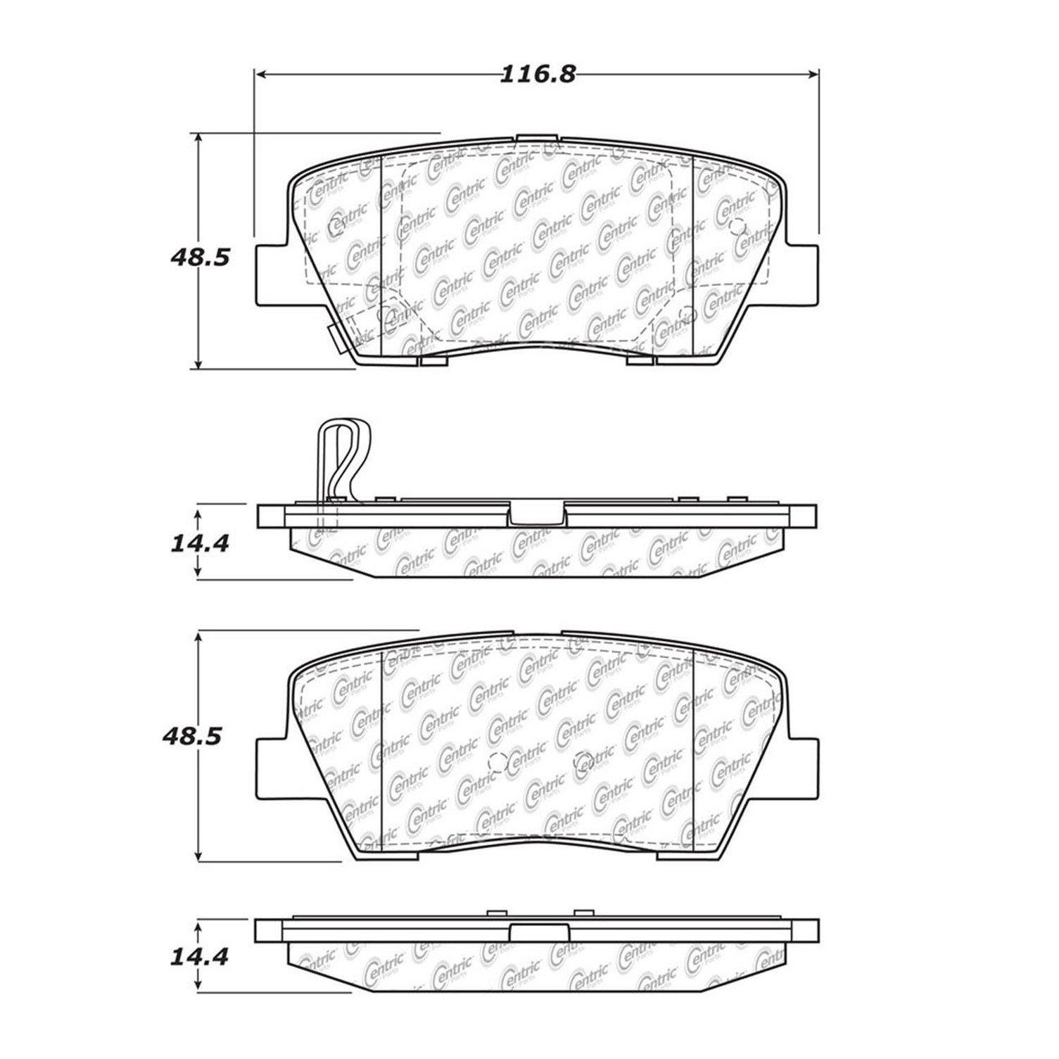 Centric 105.1022 Posi-Quiet Ceramic Brake Pad with Shims