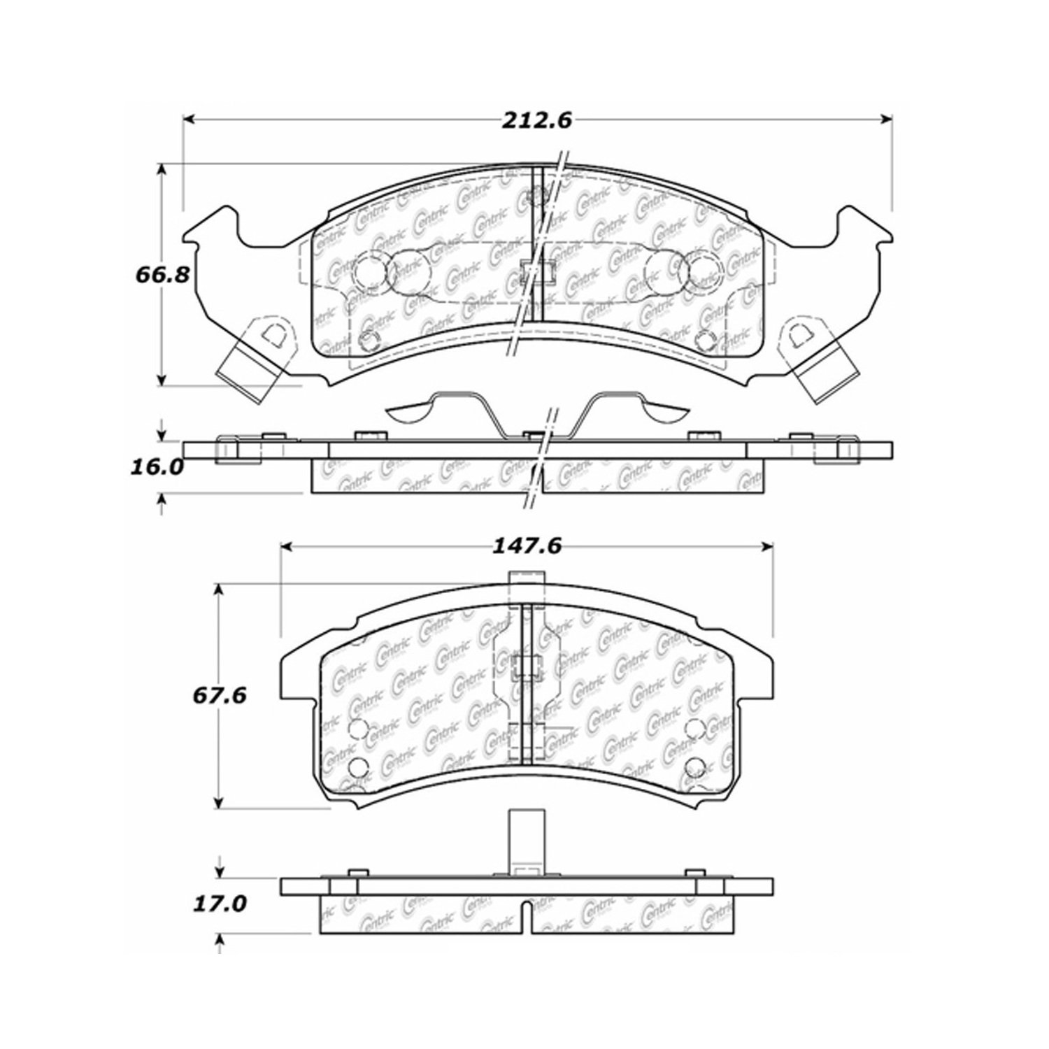 Brake Pads Centric Parts 102.05050 102 Series Semi Metallic Standard Brake Pad Replacement Parts