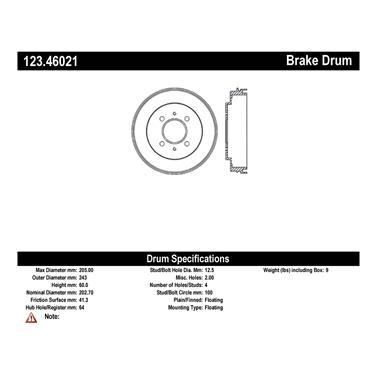 2003 Mitsubishi Lancer Brake Drum CE 123.46021