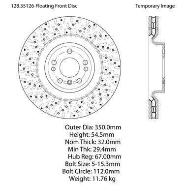 2014 Mercedes-Benz ML350 Disc Brake Rotor Front, Front, Front Centric  128 35126