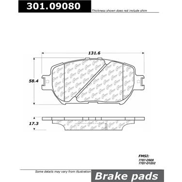 2002 Toyota Camry Disc Brake Pad Set Front, Front, Front, Front, Front,  Front Centric 301 09080