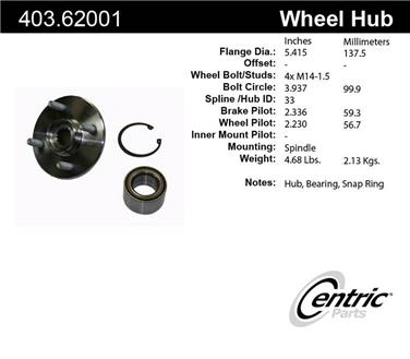Axle Bearing and Hub Assembly Repair Kit CE 403.62001E
