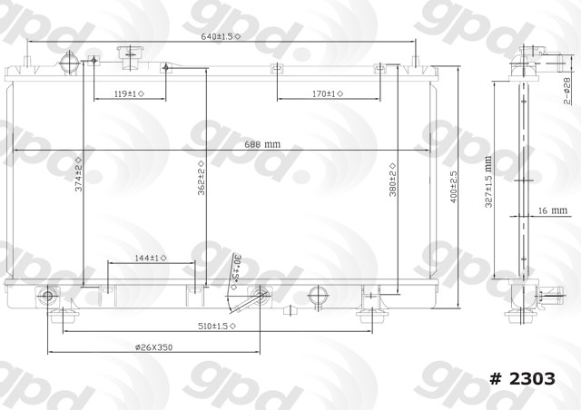 01 02 03 Mazda Protege 1-Row Radiator Assembly FS8M15200B FS7P15200C MA3010145